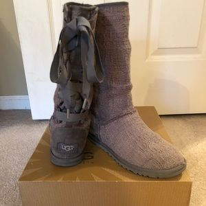 Gray UGGS with lace up back.